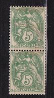 N° 111 Type Blanc: Une Paire De 2  Timbres Verticale Neuf Impeccable Sans Charnière - 1944 Coq Et Marianne D'Alger
