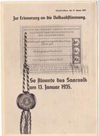 Feldpostkarte Zur Saarbefreiung 1935 - Ereignisse