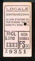 TR43   BIGLIETTO FS 1956 LOC. CIVITAVECCHIA  AD UNA STAZIONE DEL TRATTO ROMA TRAST. RM TIBURTINA RM TERMINI 3° CLASSE - Treni