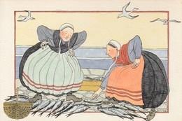 ILLUSTRATEUR VENDEUSES DE POISSONS BRETAGNE SIGNATURE A IDENTIFIER - Autres Illustrateurs