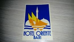 E1-HOTEL ORIENT BARI ITALY ITALIA,old HOTEL LUGGAGE LABEL ETIQUETTE ETICHETTA BAGAGE - Hotel Labels