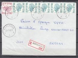 Aangetekende Brief Van Herseaux B3B Naar Anvers - 1970-1980 Elström