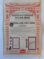 CHINE CHINA CHINESE     5% OR GOLD  1903 - Autres