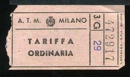 TR47 BIGLIETTO ATM MILANO TARIFFA ORDINARIA ROSA - Europe