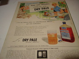 ANCIENNE PUBLICITE BUVEZ  MARTELL DRY PALE 1956 - Alcools