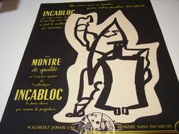 ANCIENNE AFFICHE PUBLICITE  LA MONTRE ET  INCABLOC 1951 - Bijoux & Horlogerie