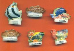 Lot De 6 Feves Porcelaine Poissons Exotiques Et Divers - Animals