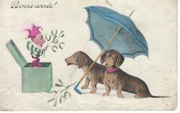 CPA - 2 Chiens TECKEL Souhaitent La Bonne Année - 1910 - Bon état - - Dogs