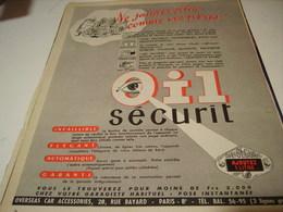 ANCIENNE PUBLICITE OIL SECURIT POUR VOITURE 1954 - Transports