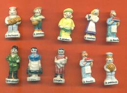 Lot De 10 Feves Porcelaine Thiriet Les Métiers Du Village Dont 1 Double - Characters