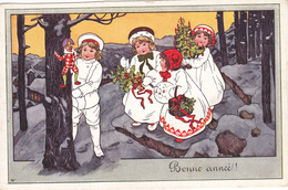 600/ Bonne Annee, Getekende Kaart, Kinderen Met Kerstboom, Pop, 1910 - Nieuwjaar