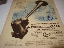 ANCIENNE PUBLICITE AVERTISSEUR MODERNE CICCA 1931 - Transports