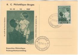COB: TP N° 449. Belle Carte Postale Souvenir De La Reine Astrid. Editée Par Le R.C. Philatélique - Bruges - Erinnerungskarten