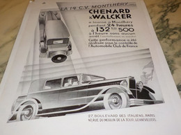 ANCIENNE PUBLICITE AUTOMOBILE CHENARD & WALCKER 14 CV  MONTLHERY 1931 - Cars