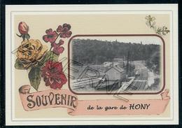 HONY ...  2 Cartes Souvenirs Gare ... Train  Creations Modernes Série Limitée - Esneux