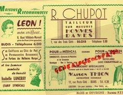 41- BLOIS-RARE BUVARD R.CHUPOT TAILLEUR-1 RUE TROIS CLEFS-MAISON THION ORTHOPEDIE RUE PORTE COTE-LEON COIFFEUR LANCRAY - Textilos & Vestidos