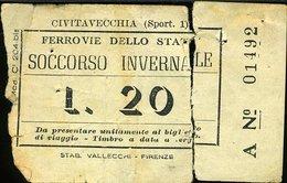 TR52 BIGLIETTO FS SOCCORSO INVERNALE LIRE 20 ( FERROVIA CIVITAVECCHIA ORTE? ) - Treni
