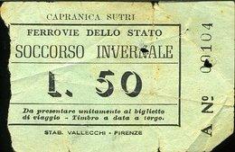 TR53 BIGLIETTO FS SOCCORSO INVERNALE LIRE 50 CAPRANICA SUTRI( FERROVIA CIVITAVECCHIA ORTE? ) - Spoorwegen