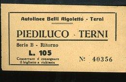TR54 BIGLIETTO AUTOLINE PIEDILUCO TERNI,  RITORNO LIRE 105 - Autobus