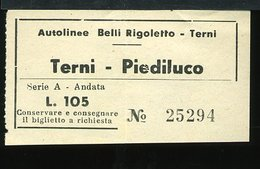 TR55 BIGLIETTO AUTOLINE  TERNI PIEDILUCO,  ANDATA LIRE 105 - Autobus