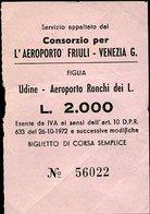TR56 BIGLIETTO UDINE AEREOPORTO RONCHI DEI L. CORSA SEMPLICE, - Autobus