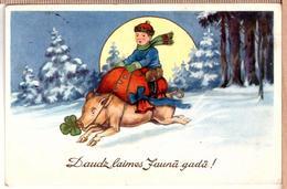 HAPPY NEW YEAR Piglets. E.Plates Edition Riga 1938 - Pigs