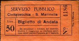 TR60 SERVIZIO PUBBLICO CIVITAVECCHIA S. MARINELLA  ANDATA LIRE 50 ( ANNI 50 ) - Autobus