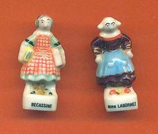 Lot De 2 Feves Porcelaine Sur Becassine - Strips