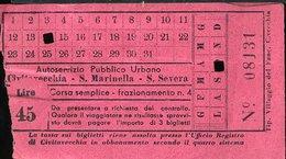 TR61 SERVIZIO PUBBLICO CIVITAVECCHIA S. MARINELLA S. SEVERA  LIRE 45 ( ANNI 50 ) - Autobus