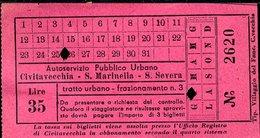 TR62 SERVIZIO PUBBLICO CIVITAVECCHIA S. MARINELLA S. SEVERA  LIRE 35 ( ANNI 50 ) - Autobus