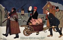 Neujahr, Männer Mit Schwein, Feiernde Gesellschaft, Sign. Arthur Thiele - Thiele, Arthur
