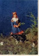 Norway - A Lapp Girl By A Mountain Lake - Samepike Ved Fjellvann I Nord Norge - Formato Grande Viaggiata Mancante Di Aff - Cartoline