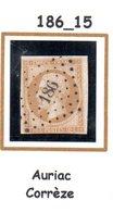 France : Petit Chiffre N° 186 : Auriac  ( Corrèze ) Indice 15 - Marcophilie (Timbres Détachés)