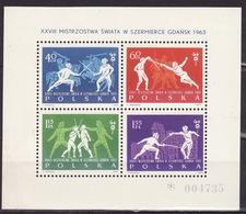 Poland 1964 Mi Bl.29 1963 XXVII World Championships In Fencing Gdansk - Blocs & Feuillets