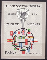 POLAND 1966 Mi Bl 38, FOOTBALL WORLD CUP - LONDON  MNH** VF - Blocks & Sheetlets & Panes