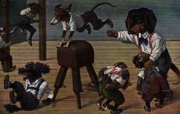 Hunde, Dackel, Sportstunde, Sign. Arthur Thiele, 1925 - Thiele, Arthur
