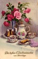 Geburtstag, Vase Mit Rosen, Kaffee Und Kuchen, 1937 Von Und Nach Berlin Versandt - Geburtstag