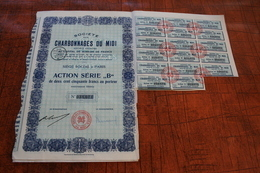Charbonnage Du Midi (Action Série ,,B Avec Le N° 038664 - Actions & Titres
