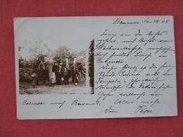 RPPC  Elephants     Group People Riding  Elephants  Benares 1905 Has Stamp & Cancel       Ref 3077 - Elephants