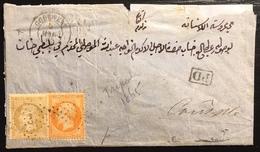 Paquebots La Méditerranée 1865 N°23 & 21 Obl Ancre Par Le Godewery Puis Repris En Charge Par Le Oronte!!  Signé Baudot - Marcophilie (Lettres)
