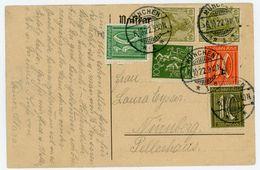 "1922 Schöne MIF Germania/Ziffern Fern Postkarte ""München - Nürnberg - Germany"