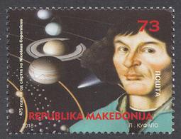 Macedonia 2018  475 Years Anniversary Nicolaus Copernicus, Astronomy, Science, Physics, Poland, Stamp MNH - Macédoine