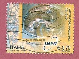 ITALIA REPUBBLICA USATO - 2014 - Laboratori Nazionali Fisica Nucleare  - Sud Ciclotrone K800 - € 0,70 - S. 3512 - 2011-...: Usati