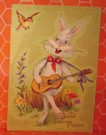 Auguri Buona Pasqua Rabbit Coniglio Chitarra  Illustratore Elena Cartolina - Pasqua