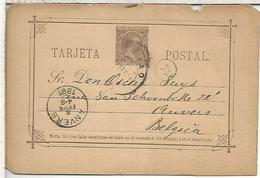 BILBAO A ANVERS 1881 TARJETA ENTERO POSTAL SPAIN STATIONERY CARD - 1850-1931