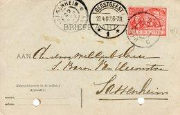 19 APR 07 Gr.rond UTRECHT-ZWOLLE C  Op NVPH89 Op Corr.kaart Van Oegstgeest Naar Sassenheim (perforatiegaatjes) - Periode 1891-1948 (Wilhelmina)