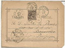 MALAGA A BRUXELLES REEXPEDIDA BOTSFORT 1890 TARJETA ENTERO POSTAL SPAIN STATIONERY CARD VARIEDAD TIPO I-A SR DEBAJO TARJ - 1850-1931
