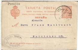 BILBAO A HAINICHER 1913 TARJETA ENTERO POSTAL SPAIN STATIONERY CARD - 1850-1931