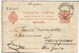 BARCELONA A LAUGAASSE 1913 TARJETA ENTERO POSTAL SPAIN STATIONERY CARD - 1850-1931