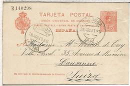 CORDOBA A LAUSSANNE 1913 TARJETA ENTERO POSTAL SPAIN STATIONERY CARD - 1850-1931